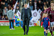 Craig Levein, manager of Heart of Midlothian makes his way to the technical area before the Ladbrokes Scottish Premiership match between Heart of Midlothian and Livingston at Tynecastle Stadium, Edinburgh, Scotland on 6 February 2019.