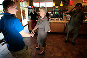 WWE founder and millionaire Linda McMahon campaigns in Connecticut for a Republican Senate seat.