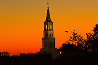 Twilight view of the steeple of St. Michael's Episcopal Church, in the historic district of Charleston, South Carolina