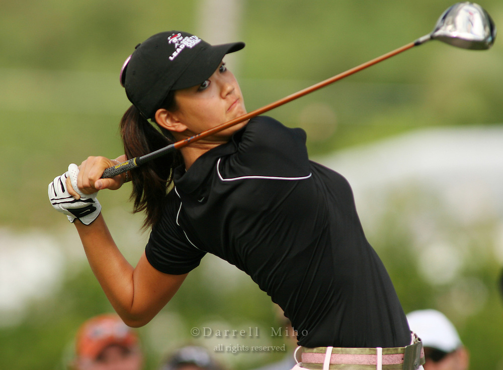 January 14, 2005; Honolulu, HI, USA;  15 year old amateur Michelle Wie tees off during the 2nd round of the PGA Sony Open golf tournament held at Waialae Country Club.    Wie shot a 4 over par 74 for the day and missed the cut by 7 strokes with a 9 over par 149.<br />