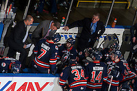 KELOWNA, CANADA - MARCH 26: Don Hay, head coach of the Kamloops Blazers goes  over a play on the bench during a time out against the Kelowna Rockets on March 26, 2016 at Prospera Place in Kelowna, British Columbia, Canada.  (Photo by Marissa Baecker/Shoot the Breeze)  *** Local Caption *** Don Hay;