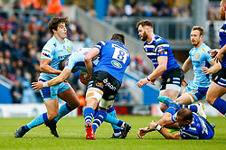 Harvey Skinner of Exeter Chiefs is tackled by Josh Bayliss of Bath Rugby - Mandatory by-line: Ryan Hiscott/JMP - 03/11/2018 - RUGBY - Sandy Park Stadium - Exeter, England - Exeter Chiefs v Bath Rugby - Premiership Rugby Cup