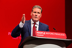 © Licensed to London News Pictures. 21/09/2019. Brighton, UK. Shadow Secretary of Stater for Exiting the European Union, Sir Keir Starmer on stage at the 2019 Labour Party Conference in Brighton and Hove. Photo credit: Hugo Michiels/LNP