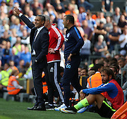 Chris Hughton trying to get Brighton to push up the field just before the penalty during the Sky Bet Championship match between Fulham and Brighton and Hove Albion at Craven Cottage, London, England on 15 August 2015. Photo by Matthew Redman.