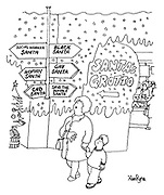 (A little boy and his mother in a department store at Christmas time walk past a signpost pointing to Santa Clauses for niche markets: Social Worker Santa, Black Santa, Gay Santa, Woman Santa, CND Santa and Save the Whale Santa)