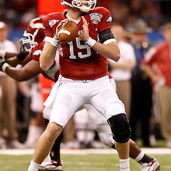 January 4, 2011; New Orleans, LA, USA;  Arkansas Razorbacks quarterback Ryan Mallett (15) against the Ohio State Buckeyes during the second quarter of the 2011 Sugar Bowl at the Louisiana Superdome.  Mandatory Credit: Derick E. Hingle