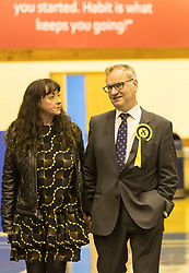 The count for the UK Parliamentary General Election 2017 for the Perth & North Perthshire Constituency takes place at Bell's Sports Centre in Perth.<br /> <br /> The four candidates standing for the seat are Peter Barrett (Scottish Liberal Democrats), Ian Duncan (Scottish Conservatives), David Roemmele (Scottish Labour) and Pete Wishart (SNP)<br /> <br /> Pictured: Pete Wishart and his partner Sara O'Hagan after a re-count is declared at Perth and North Perthshire