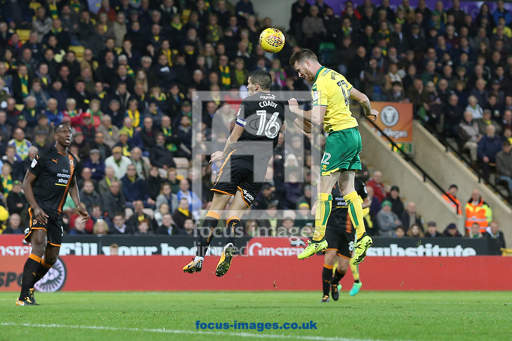 Marley Watkins of Norwich heads for goal during the Sky Bet Championship match at Carrow Road, Norwich<br /> Picture by Paul Chesterton/Focus Images Ltd +44 7904 640267<br /> 31/10/2017