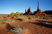 Totem Pole at Monument Valley at sunset