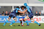 Albert James Vulivuli (Racing Metro 92) stopped by Kelian Galletier (Montpellier Herault Rugby) and Nico Janse Van Rensburg (Montpellier Herault Rugby) during the French Championship Top 14 Rugby Union match between Racing Metro 92 and Montpellier Herault Rugby, on November 26, 2017, at Yves du Manoir stadium in Colombes, France, Photo Stephane Allaman / ProSportsImages / DPPI