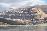 Recreational fishing boats on the Snake River section that flows through Hells Canyon National Recreation Area.