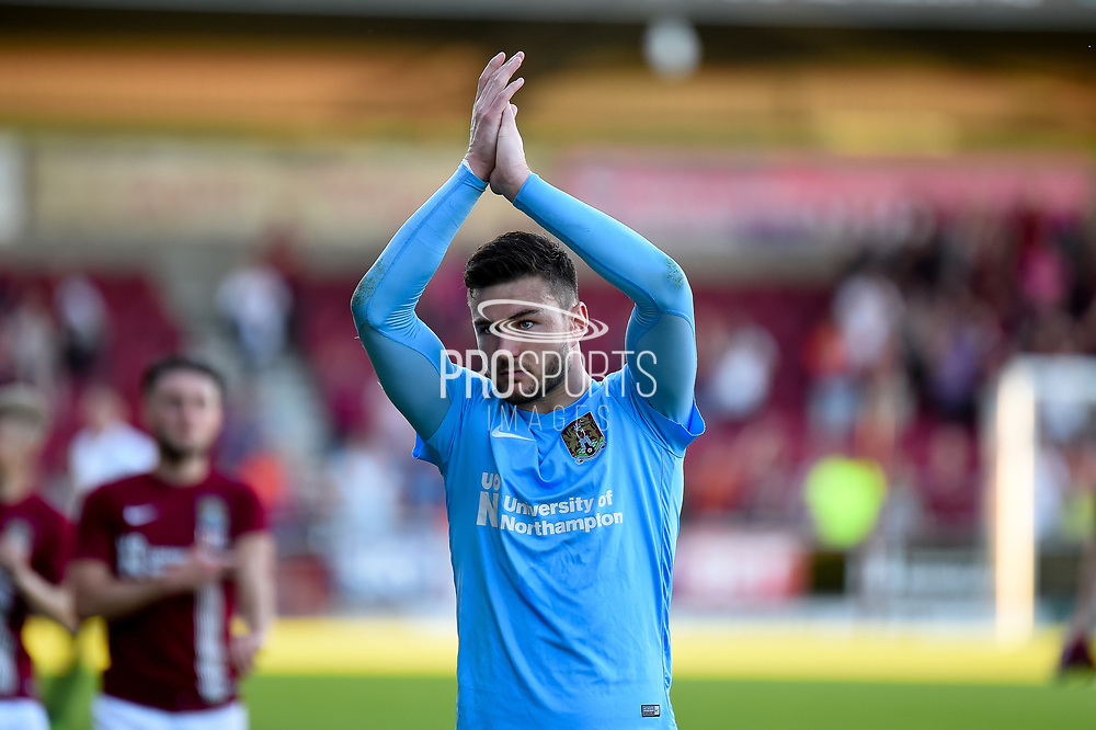 Northampton Town goalkeeper Richard O'Donnell (13) applauds the fans at the end of the EFL Sky Bet League 1 match between Northampton Town and Oldham Athletic at Sixfields Stadium, Northampton, England on 5 May 2018. Picture by Dennis Goodwin.