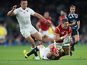 Twickenham, Great Britain,     Mike BROWN, brings down Scott WILLIAMS, during the Pool A Game, England vs Wales.  2015 Rugby World Cup, Venue, The RFU Stadium, Twickenham, Surrey, ENGLAND. Saturday   26/09/2015  [Mandatory Credit; Peter Spurrier/Intersport-images]