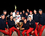 JERSEY CITY, NJ - OCTOBER 01: The U.S. Team parties after retaining the Presidents Cup at Liberty National Golf Club on October 1, 2017, in Jersey City, New Jersey. (Photo by Chris Condon/PGA TOUR)