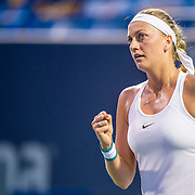 August 24, 2016, New Haven, Connecticut: <br /> Petra Kvitova of the Czech Republic in action during a match against Eugenie Bouchard on Day 6 of the 2016 Connecticut Open at the Yale University Tennis Center on Wednesday, August  24, 2016 in New Haven, Connecticut. <br /> (Photo by Billie Weiss/Connecticut Open)
