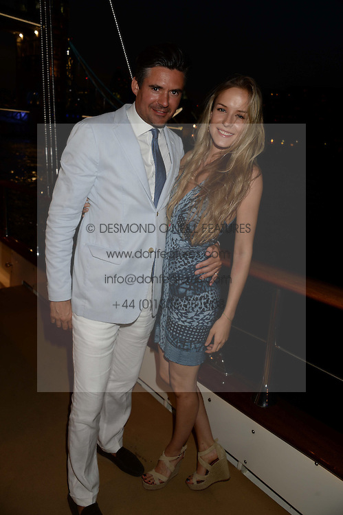 The Johnnie Walker Blue Label and David Gandy Drinks Reception aboard John Walker & Sons Voyager, St.Georges Stairs Tier, Butler's Wharf Pier, London, UK on 16th July 2013.<br /> Picture Shows:-Edward Taylor, Hum Fleming.