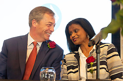 © Licensed to London News Pictures. 23/04/2019. London, UK. Brexit party leader Nigel Farage speaks to Christina Jordan at a Brexit party candidate launch for the upcoming European elections. Photo credit: Ray Tang/LNP