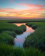 A beautiful curve in the marsh provided the perfect foreground for a nice sunrise in over the vibrant green grasses. The reflection in the water of colorful pastels made this morning extra special.