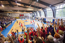 A view from spectator platform during basketball match between KK Rogaska and KK Tajfun in 3rd Round of Final of Slovenian National Basketball Championship 2014/15, on May 26, 2015 in Sportna dvorana, Rogaska Slatina, Slovenia. Photo by Ziga Zupan / Sportida
