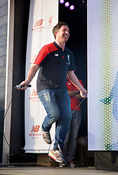 LIVERPOOL, ENGLAND - Monday, May 9, 2016: Liverpool's Robbie Fowler skips at the launch of the New Balance 2016/17 Liverpool FC kit at a live event in front of supporters at the Royal Liver Building on Liverpool's historic World Heritage waterfront. (Pic by Lexie Lin/Propaganda)