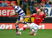 Photo: Tom Dulat.<br /> <br /> Charlton Athletic v Queens Park Rangers. Coca Cola Championship. 27/10/2007.<br /> <br /> Rowan Vine of Queens Park Rangers and Danny Mills of Charlton Athletic fight for the ball.