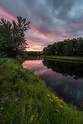 Dawn on the Mattawamkeag River as it flows through the Reed Plantation in Wytipitlock, Maine.