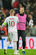 Harry Kane (England) greets Wayne Rooney (England) following the international Friendly match between England and USA at Wembley Stadium, London, England on 15 November 2018.