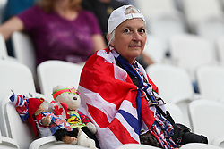 London, 2017-August-04. Great Britain supporter with her teddies at the London Stadium ahead of the opening of the IAAF World Championships London 2017. Paul Davey.