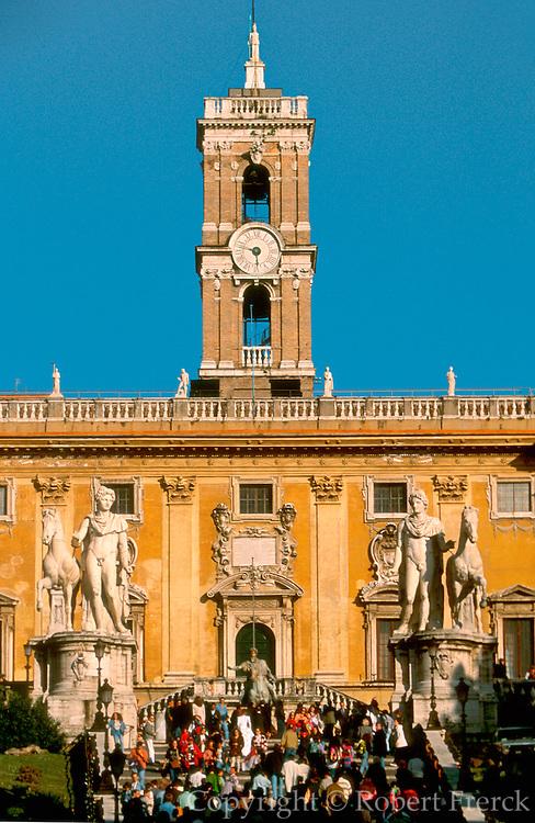 ITALY, ROME Piazza del Campidoglio on Capitoline Hill,  with the Palazzo Senatorio (center) piazza and facades designed by Michelangelo