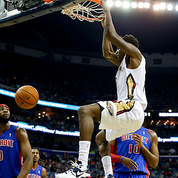 Dec 11, 2013; New Orleans, LA, USA; New Orleans Pelicans small forward Al-Farouq Aminu (0) dunks against the Detroit Pistons during the first quarter at New Orleans Arena. Mandatory Credit: Derick E. Hingle-USA TODAY Sports