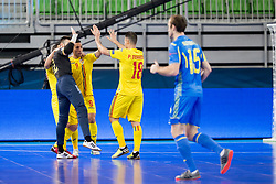 Players of Romania celebrate goal during futsal match between Romania and Ukraine at Day 4 of UEFA Futsal EURO 2018, on February 2, 2018 in Arena Stozice, Ljubljana, Slovenia. Photo by Urban Urbanc / Sportida