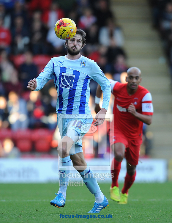Adam Barton of Coventry City during the Sky Bet League 1 match at the Matchroom Stadium, London<br /> Picture by Alan Stanford/Focus Images Ltd +44 7915 056117<br /> 01/11/2014