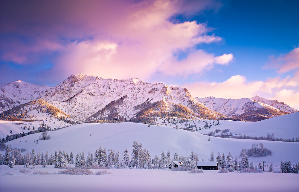 Winter sunrise in the Boulder Mountains, near Sun Valley Idaho