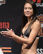 "COLOGNE, GERMANY, JUNE 12, 2009: Octagon girl Logan Stanton is pictured on stage at the official weigh-in for ""UFC 99: The Comeback"" inside LanXess Arena in Cologne, Germany on June 12, 2009"