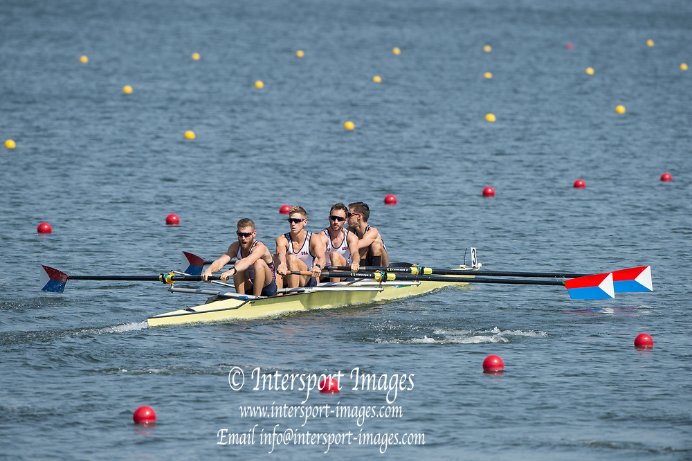 Rio de Janeiro. BRAZIL. USA LM4- , 2016 Olympic Rowing Regatta. Lagoa Stadium,<br /> Copacabana,  &ldquo;Olympic Summer Games&rdquo;<br /> Rodrigo de Freitas Lagoon, Lagoa. Local Time 12:40:11  Saturday  06/08/2016<br /> [Mandatory Credit; Peter SPURRIER/Intersport Images]