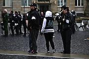 Frankfurt am Main | 20 Jun 2015<br /> <br /> Kundgebung der islamfeindlichen Gruppe &quot;Widerstand Ost West&quot; (WOW) um Ester Seitz, die Rechtspopulisten, rechte Hooligans und Neonazis vereint, auf dem Rossmarkt.<br /> Hier: Sogenannte &quot;Ordner&quot; der WOW-Demo.<br /> <br /> Photo &copy; peter-juelich.com