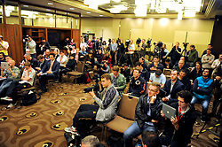 MELBOURNE, AUSTRALIA - Monday, July 22, 2013: Media during a press conference at the Grant Hyatt Hotel ahead of their preseason friendly against Melbourne Victory. (Pic by David Rawcliffe/Propaganda)