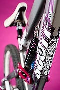 The colorful down tube of the 2010 Scott Voltage freeride mountain bike.