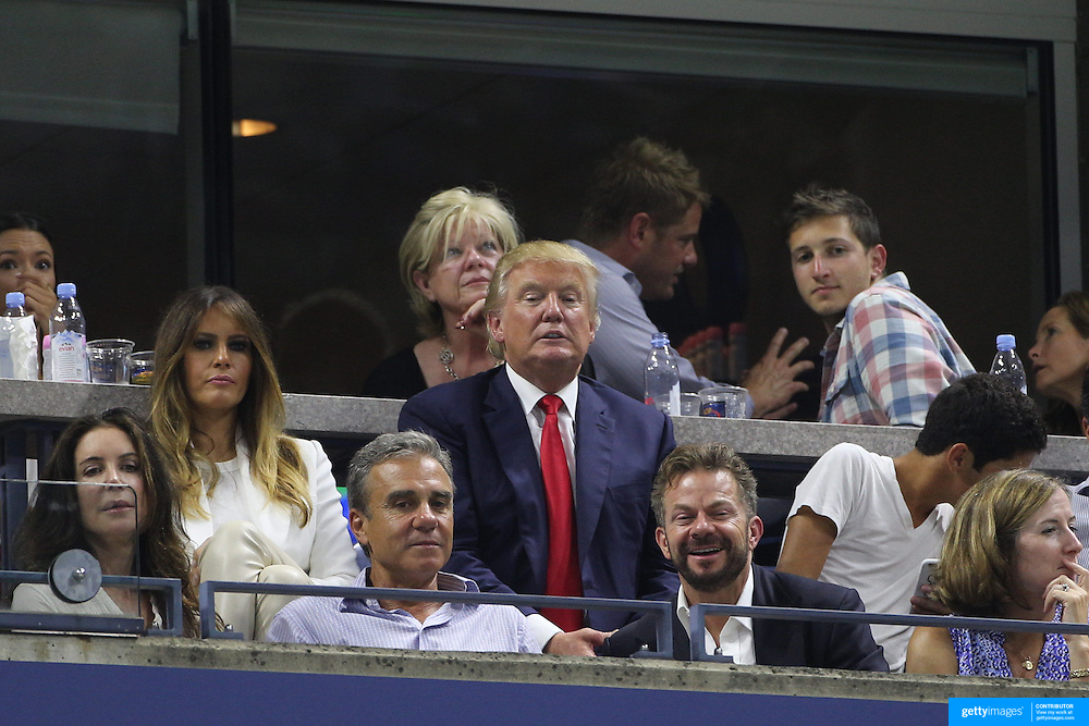 Donald Trump watching Serena Williams, USA, in action against her sister Venus Williams, USA, in the  Women's Singles Quarterfinals match during the US Open Tennis Tournament, Flushing, New York, USA. 8th September 2015. Photo Tim Clayton