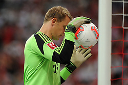 31.07.2013, Allianz Arena, Muenchen, Audi Cup 2013, FC Bayern Muenchen vs Sao Paulo, im Bild, Torwart Manuel NEUER (FC Bayern Muenchen), Einzelbild, angeschnitten, angeschnittenes einzelmotiv, halbfigur, halbe Figur, quer, querformat, horizontal, landscape, Aktion,  // during the Audi Cup 2013 match between FC Bayern Muenchen and Sao Paulon at the Allianz Arena, Munich, Germany on 2013/07/31. EXPA Pictures © 2013, PhotoCredit: EXPA/ Eibner/ Wolfgang Stuetzle<br /> <br /> ***** ATTENTION - OUT OF GER *****