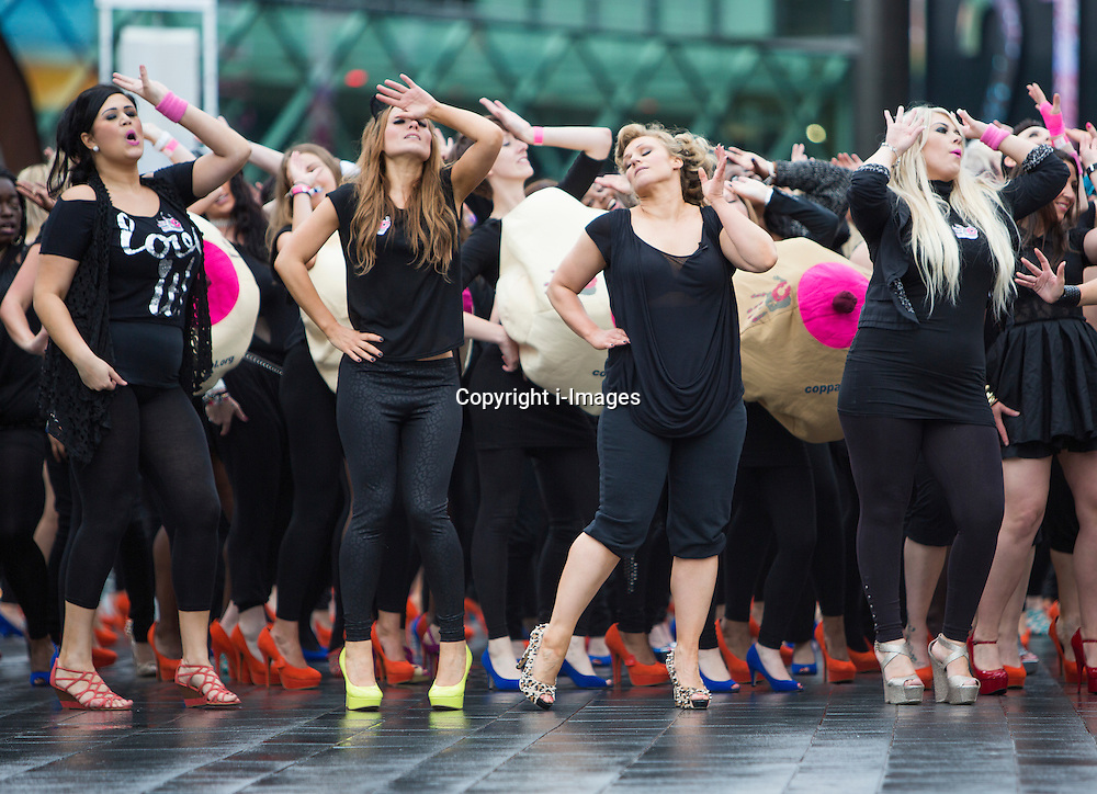 The famous X Factor duo '2 Shoes' joined 300 girls from New Look, CoppaFeel, Raunch UK and Us Girls on Stratford Bridge London, on Tuesday the 3rd July 2012 Credit Cherryduck/ i-Images.