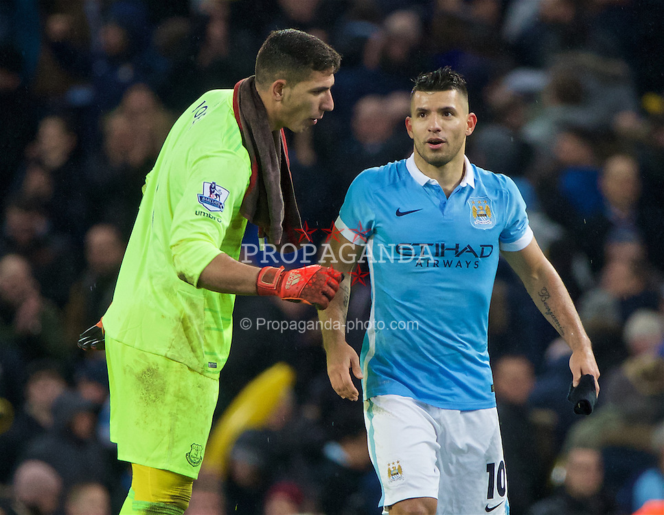 MANCHESTER, ENGLAND - Wednesday, January 27, 2016: Everton's goalkeeper Joel Robles has words with Manchester City's goal-scorer Sergio Aguero after City's 3-1 (4-2 on aggregate) victory during the Football League Cup Semi-Final 2nd Leg match at the City of Manchester Stadium. (Pic by David Rawcliffe/Propaganda)