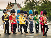 03 DECEMBER 2015 - BANGKOK, THAILAND: Senior Thai military officers lead the annual Trooping of the Colors parade to Sanam Luang in Bangkok. The Thai Royal Guards Parade, also known as Trooping of the Colors, occurs every December before the celebration of the birthday of Bhumibol Adulyadej, the King of Thailand. The Royal Guards of the Royal Thai Armed Forces perform a military parade and pledge loyalty to the monarch. Historically, the venue has been the Royal Plaza in front of the Dusit Palace and the Ananta Samakhom Throne Hall. This year it was held on Sanam Luang in front of the Grand Palace.    PHOTO BY JACK KURTZ