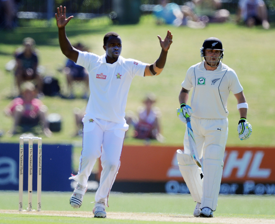 Zimbabwe's Brian Vitori reacts after bowling in front of New Zealand's Brendan McCullum on the first day of the International Cricket test, McLean Park, Napier, New Zealand, Thursday, January 26, 2012. Credit:SNPA / Ross Setford