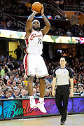 Jan 31, 2010; Cleveland, OH, USA; Cleveland Cavaliers forward LeBron James (23) shoots during the second quarter against Los Angeles Clippers at Quicken Loans Arena. Mandatory Credit: Jason Miller-US PRESSWIRE