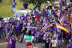 May 6, 2018 - Orlando, FL, U.S. - ORLANDO, FL - MAY 06: Fans march to the stadium before the soccer match between the Orlando City Lions and Real Salt Lake on May 6, 2018 at Orlando City Stadium in Orlando FL. Photo by Joe Petro/Icon Sportswire) (Credit Image: © Joe Petro/Icon SMI via ZUMA Press)