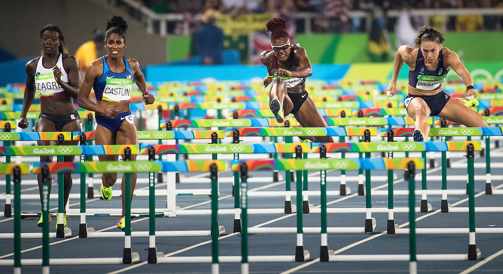 Nikkita Holder runs the Olympic 100m meter hurdles in Rio de Janeiro on August 17, 2016.