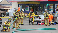 Hiawatha Police and Fire work on the scene of a mobile meth lab at Road Ranger in Cedar Rapids on Monday, May 19, 2014.