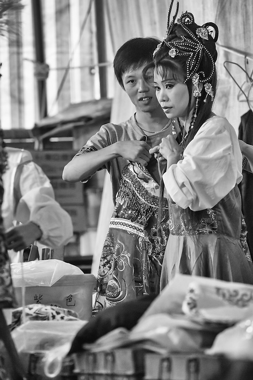 Backstage preparations before a performance of traidtional Han opera.