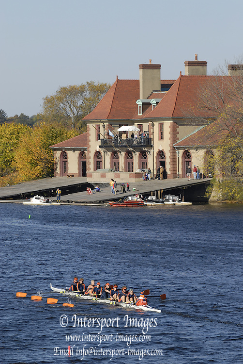 Boston, Massachusetts, Senior Master  Men's Eights M8+, looking from the  Weeks Footbridge, to the Radcliffe Womens Boathouse, Weld Boathouse Harvard University,   crews competing in the Forty second Head of the Charles, 21/10/2006.  Photo  Peter Spurrier/Intersport Images...[Mandatory Credit, Peter Spurier/ Intersport Images] Rowing Course; Charles River. Boston. USA